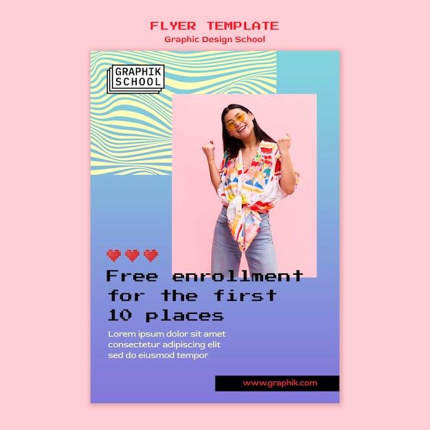 Флаер школы графического дизайна с фото Бесплатные Psd