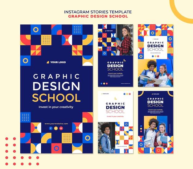 Graphic design school instagram stories Free Psd