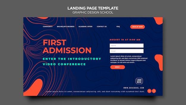 Шаблон целевой страницы школы графического дизайна Premium Psd