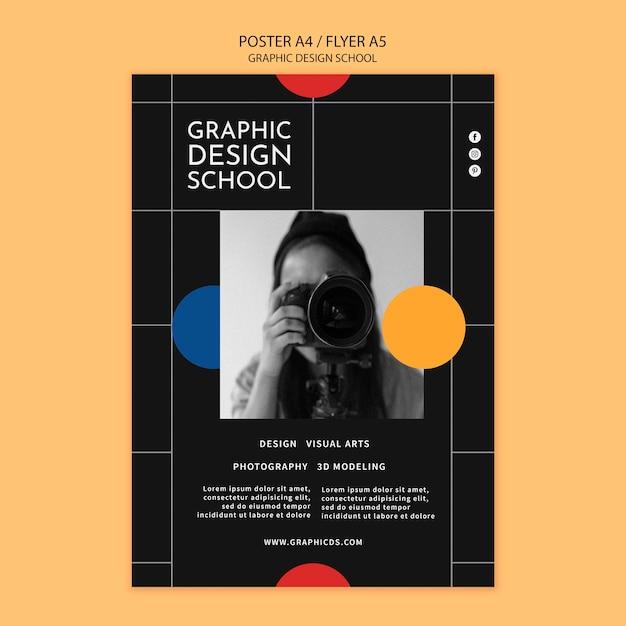 그래픽 디자인 학교 포스터 템플릿 무료 PSD 파일