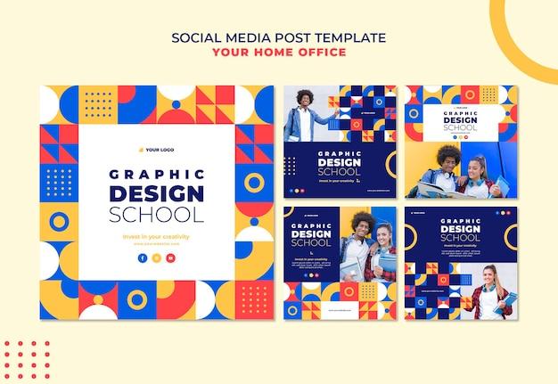 Пост в социальных сетях школы графического дизайна Бесплатные Psd