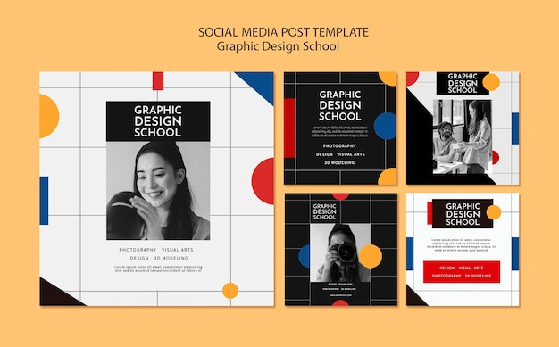 Post sui social media della scuola di graphic design Psd Gratuite