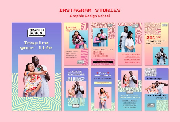 Graphic design school social media stories Premium Psd