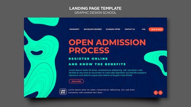 Целевая страница шаблона школы графического дизайна Premium Psd
