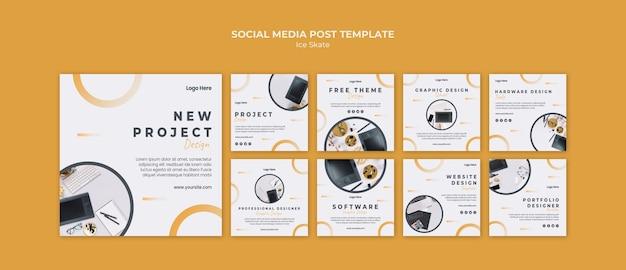Шаблон сообщения в социальных сетях с графическим дизайном Бесплатные Psd