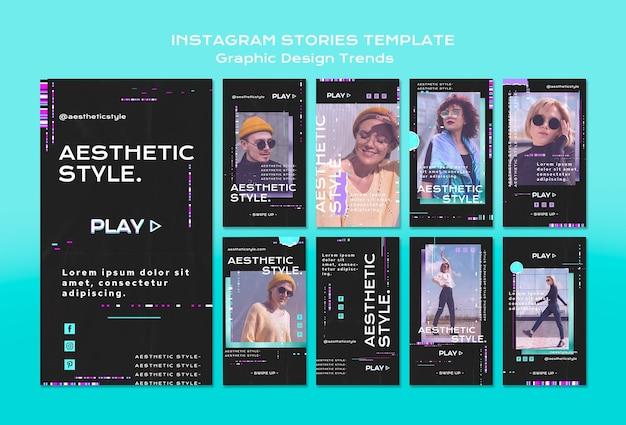 Modello di storie di instagram di tendenze di design grafico Psd Gratuite
