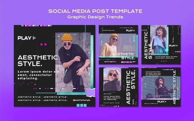 그래픽 디자인 트렌드 소셜 미디어 게시물 무료 PSD 파일