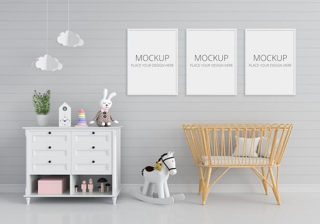 Camera per bambini grigia con mockup di cornice Psd Gratuite