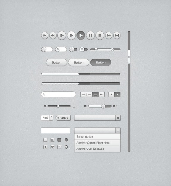 Gray ui kit for itunes Free Psd