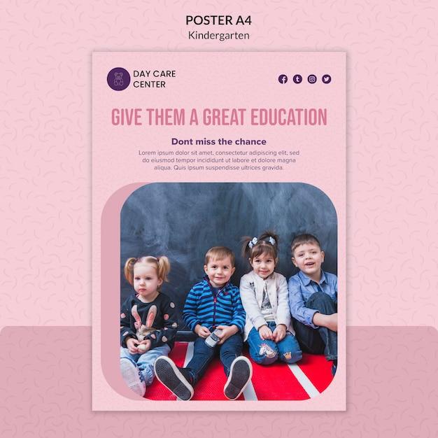 Greatest education kindergarten poster template Free Psd