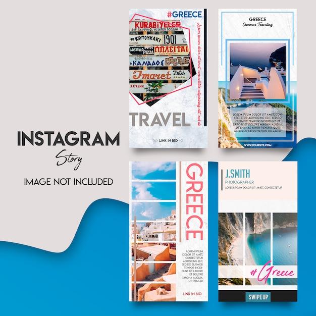 Greece instagram srories template set Premium Psd