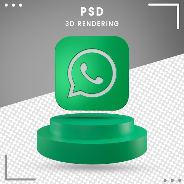 Green 3d rotated logo icon whatsapp isolated Premium Psd