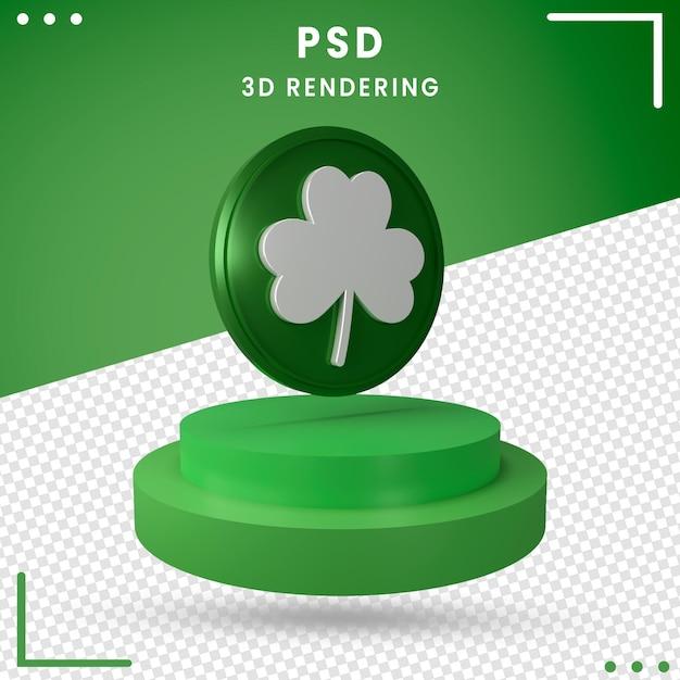 緑の3d回転聖パトリックの日が分離されました Premium Psd