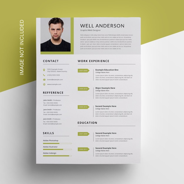 Green accent with corporare resume design Premium Psd