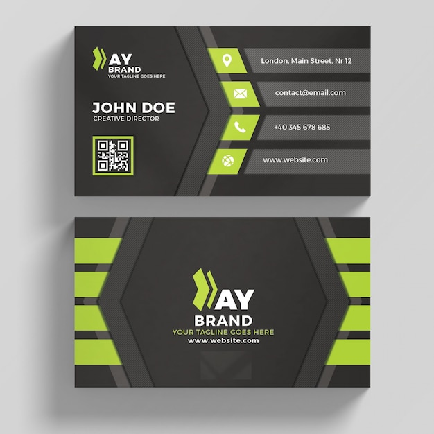 green and black business card psd file premium download