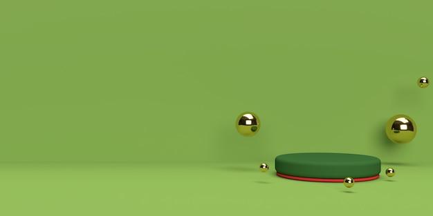제품 표시를위한 추상 장면 기하학 모양 연단의 녹색과 금색 3d 렌더링 프리미엄 PSD 파일