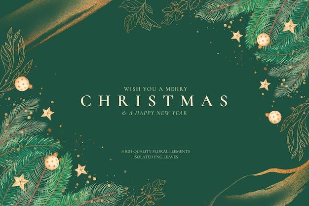 Зеленый и золотой новогодний фон с украшениями Бесплатные Psd