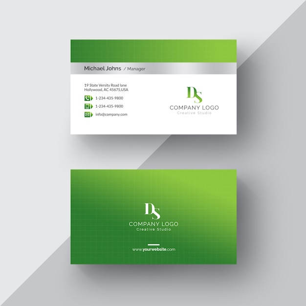 Green and white business card psd file free download green and white business card free psd reheart Image collections