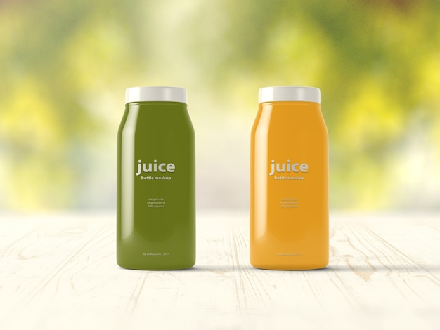Green and yellow juice bottle mock up Free Psd
