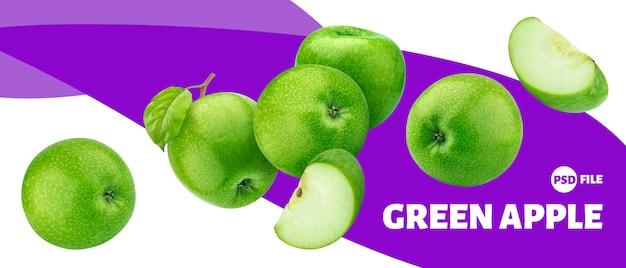 Зеленое яблоко фрукты баннер Premium Psd