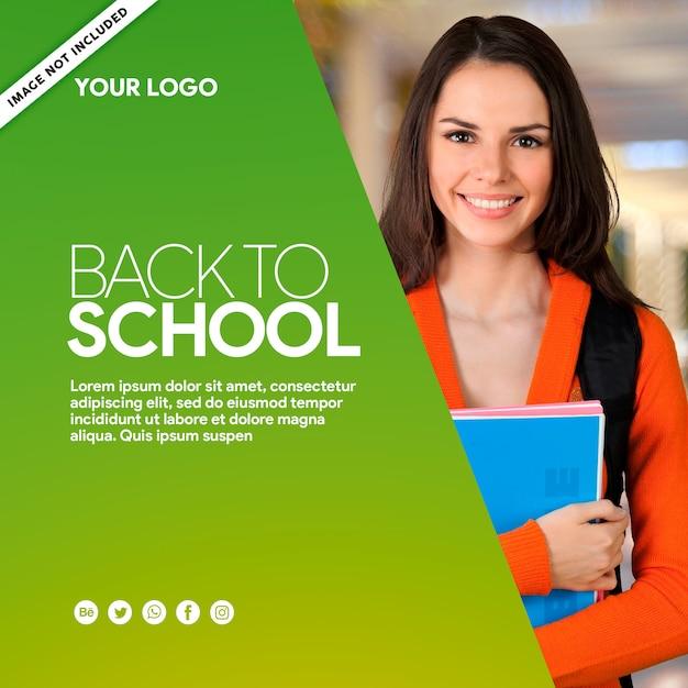 Green banner social media back to school Premium Psd