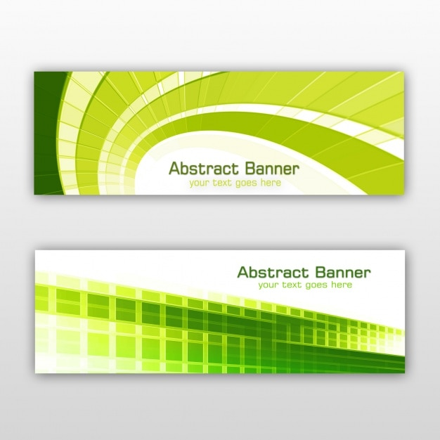 Green Banners Set Psd File Free Download