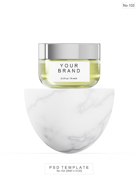 Green beauty product with marble stone. 3d render Premium Psd