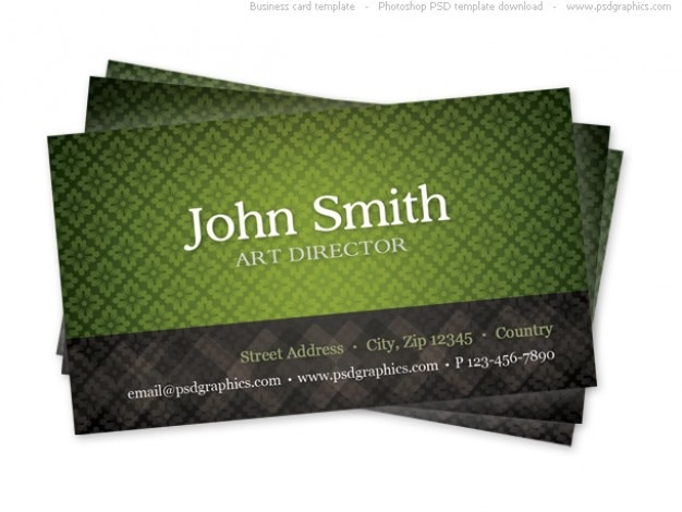 Green business card template with seamless pattern Free Psd