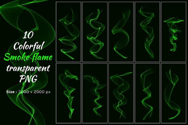 グリーンカラースモークフレーム透明コレクション Premium Psd
