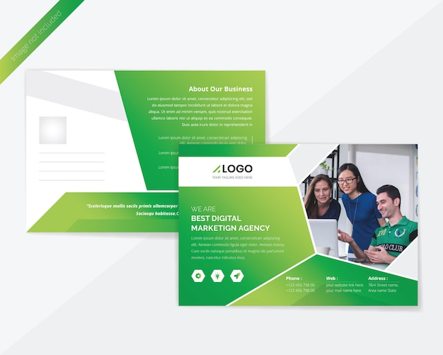 グリーンコーポレートポストカードデザイン Premium Psd
