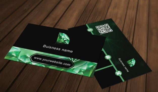green diamond business card template psd file free download