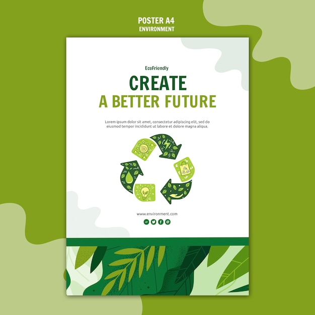 Green eco friendly poster Free Psd