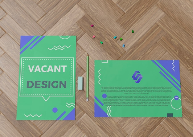 Design vuoto verde per carta mock-up aziendale marchio aziendale Psd Gratuite