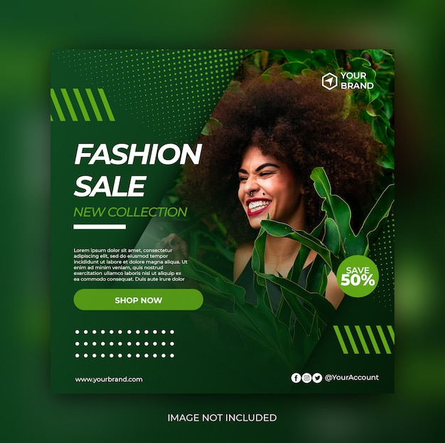 Green fashion sale banner or square flyer for social media post template Premium Psd