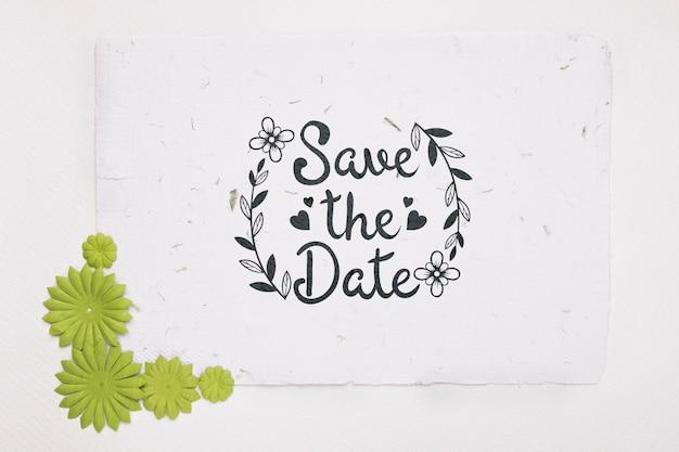 Зеленые цветы сохраняют макет даты Бесплатные Psd
