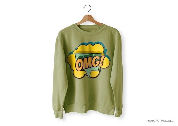 Green front sweater mockup Free Psd