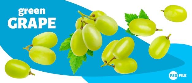 Зеленый виноград на белом фоне Premium Psd