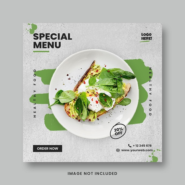 Green healthy food menu promotion social media instagram post banner template Premium Psd