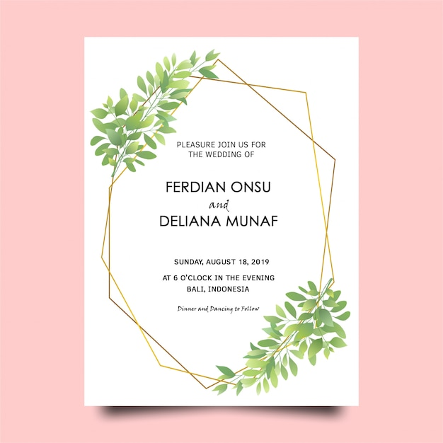 Green leaf frame wedding invitation card Premium Psd
