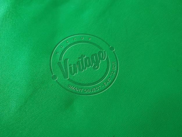 녹색 가죽 모형 로고 프리미엄 PSD 파일