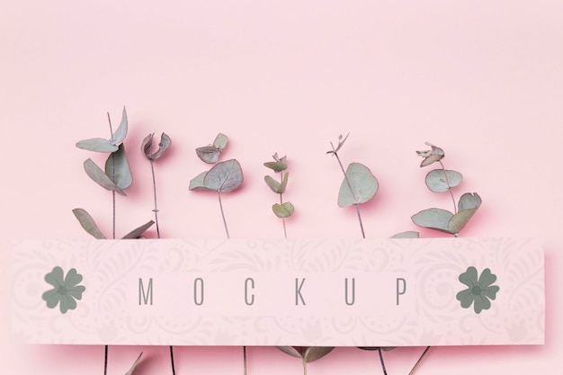 Green leaves with message mockup Free Psd