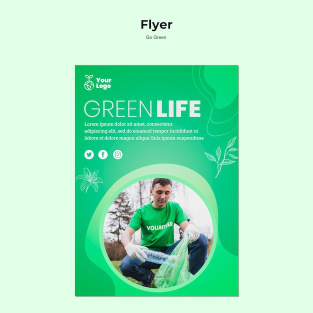 Green life environmental flyer template Free Psd