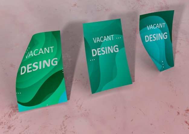 Green liquid watercolour effect brand company business mock-up paper Free Psd