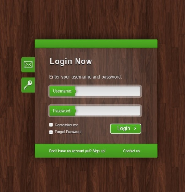 Green login form on wood texture Free Psd