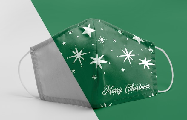 Green mask with stars mock-up Premium Psd