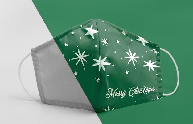 Зеленая маска с макетом звезд Premium Psd