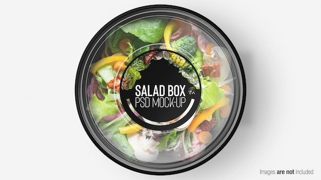 Green mix salad box with layer Premium Psd