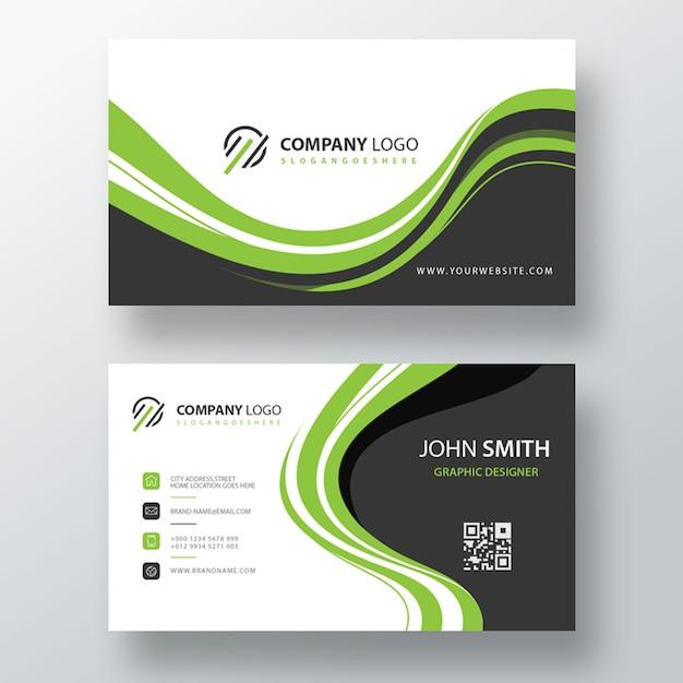 Green modern psd visit card template Free Psd