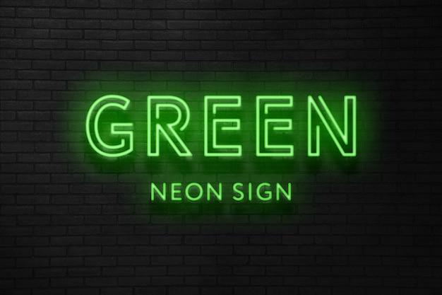 녹색 네온 사인 텍스트 효과 프리미엄 PSD 파일