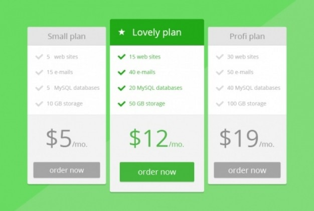Green price table in flat design psd file free download for Table flat design